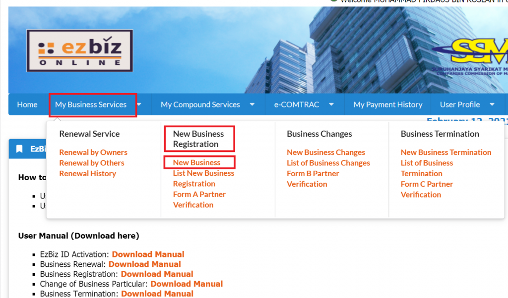 Daftar SSM EZBIZ ONLINE